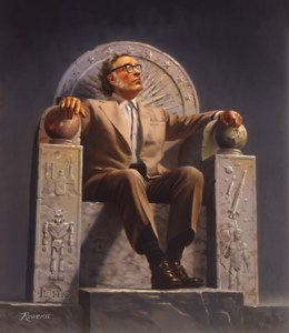 """Isaac Asimov on Throne"" by Rowena Morrill"